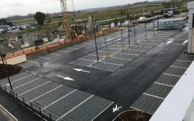 Travaux de terrassement du parking du Lidl de Gémozac (17)